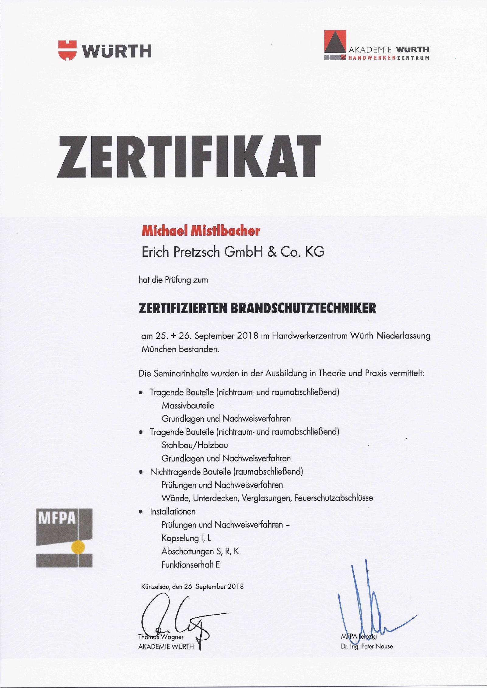 Erich Pretzsch GmbH & Co. KG Qualifikationen Zertifikate